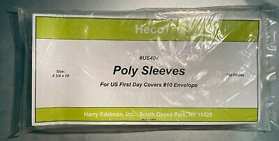 """100 Poly Sleeves For Size #10 US First Day Cover Envelopes Heco US404 4.75 X 10"""""""