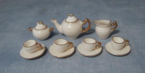 1:12 Scale 11 Piece Gold Edged White Ceramic Tea Set Tumdee Dolls House 2187