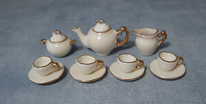 1-12-Ceramic-11-Piece-White-With-Gold-Edging-Dolls-House-Miniature-Tea-Set-2187