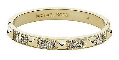 BRAND NEW MICHAEL KORS MKJ3822710 MKJ3822 CRYSTAL & GOLD PYRAMID BANGLE BRACELET