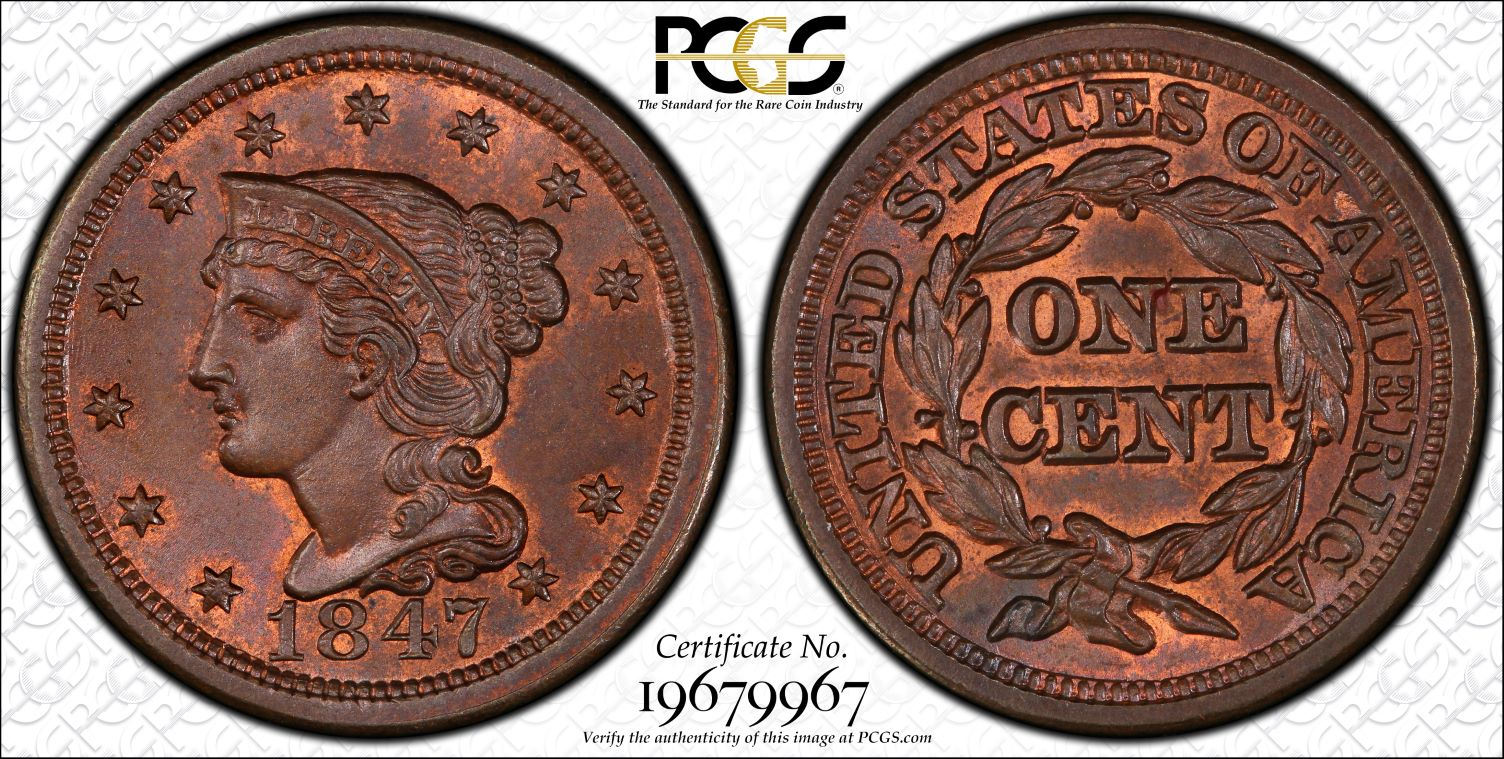 1847 Newcomb 21 1C PCGS MS65BN PCGS TrueView CAC 1 Large Cent One Penny Cents 🔥