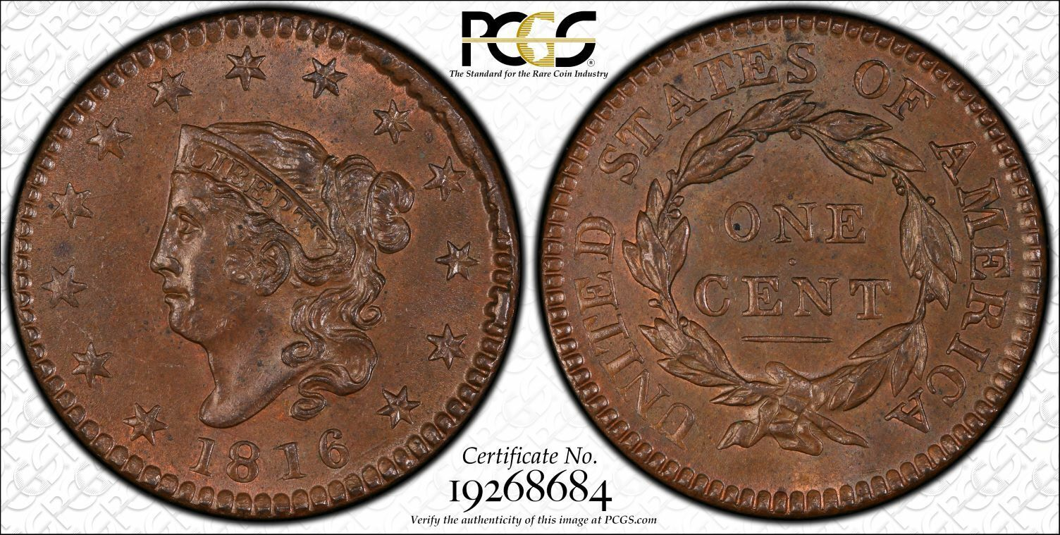 1816 Newcomb 2 1C PCGS MS64BN PCGS TrueView CAC 1 Cent One Penny Cents 🔥