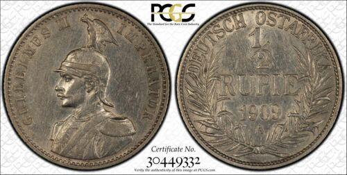 1909-A German East Africa 1/2 Rupie PCGS AU50 Lot#G202 Silver!