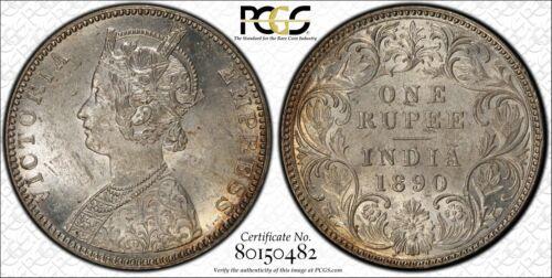 1890-B India 1 Rupee PCGS MS61 Lot#G955 Silver! Nice UNC!