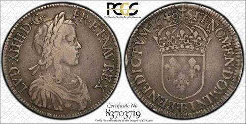 1648-T France Ecu Foreign Silver Crown DY #1649 PCGS Gold Shield VF 20  #4232