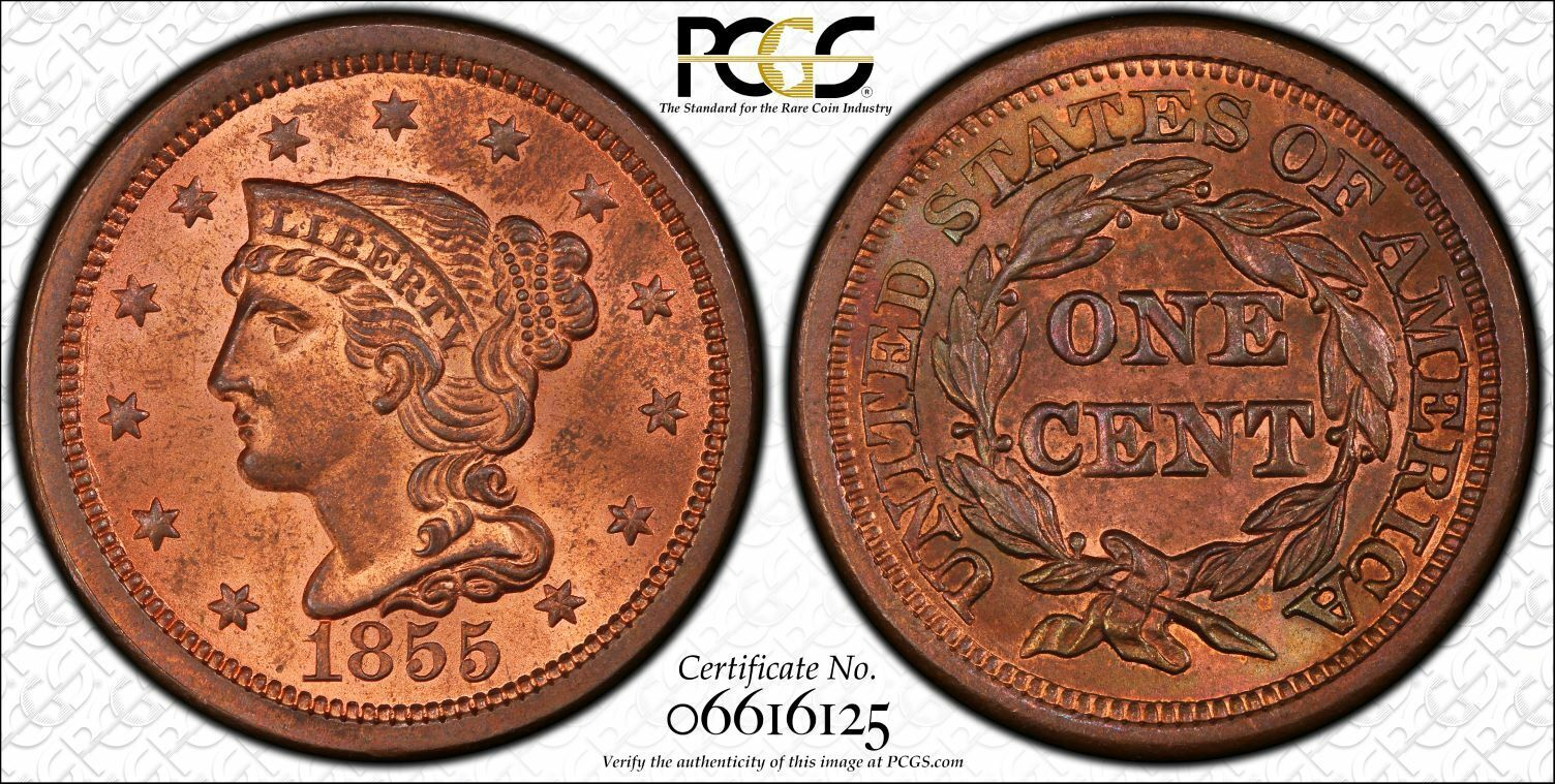 1855 N-4 Upright 55 1C PCGS MS64RB PCGS TrueView 1 Large Cent One Penny Cents 🔥