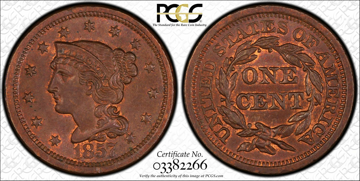 1857 N-1 Large Date 1C PCGS MS64BN PCGS TrueView Large 1 Cent One Penny Cents