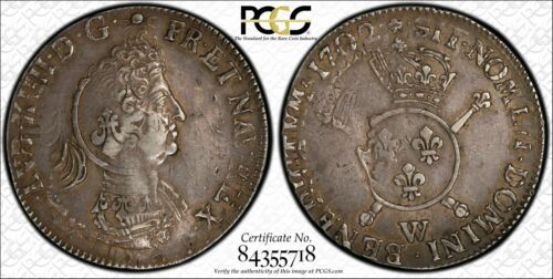 1702-W France Ecu Foreign Silver Crown KM #329.1 PCGS Gold Shield XF 45  #4231