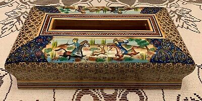 Persian Khatam Marquetry Hand Made And Painted Wooden Overlaid Tissue Holder
