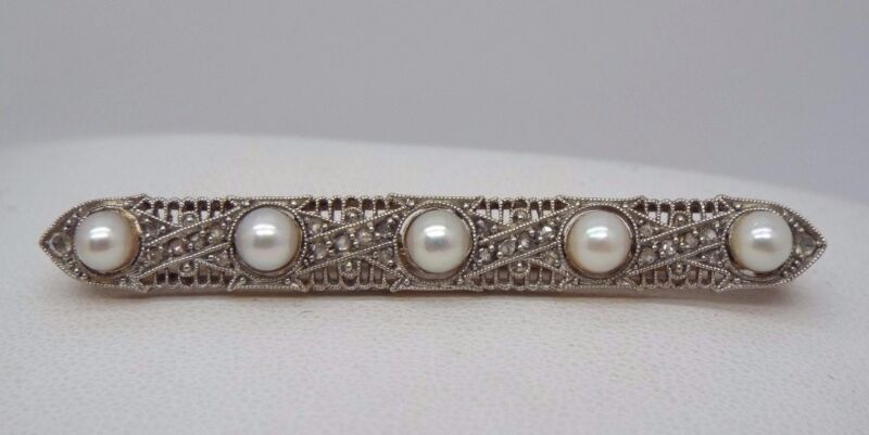 Antique 18k Yellow Gold & Platinum Bar Pin w/ Pearls & Rose Cut Diamonds