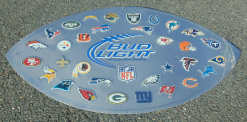 Vintage Bud Light NFL Football Metal Advertising Bar Wall Sign Estate Fresh