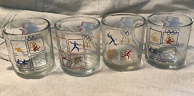 Set Of 4 Vintage Mcdonalds 1984 Olympics Games Graphic Glass Coffee Mugs Cups