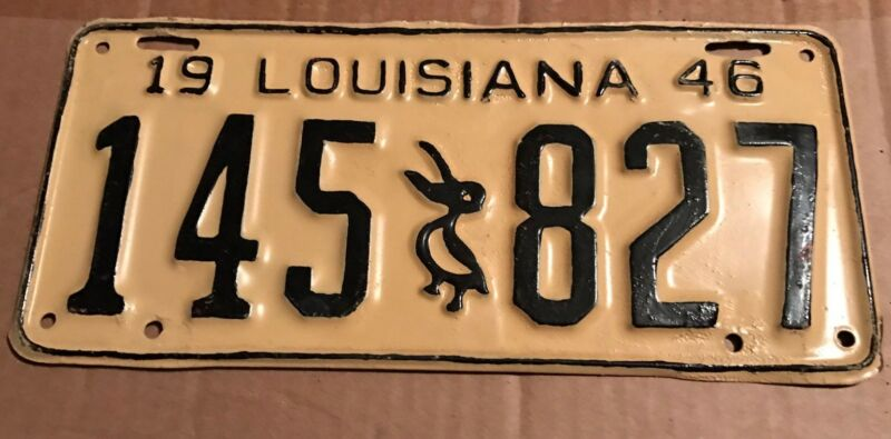 1946 Louisiana License Plate 145 827 Repainted