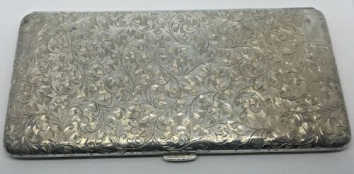 950 SILVER LARGE FULLY ENGRAVED CIGARETTE CASE~~6 5/8 x 3 1/4  194.8 GRAMS