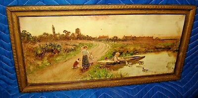 OLD GILT FRAMED TATTY & FADED PAINTING OF DUCKS BOAT ETC TOM LLOYD 1906