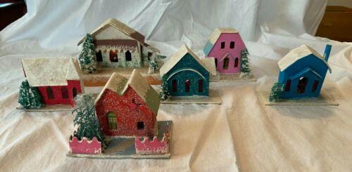 6 Vintage Cardboard Putz Christmas Light Houses Cellulose Trees Japan