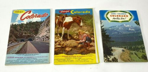 VTG 1950s & 1962 Colorful Colorado state road maps & visitors booklet