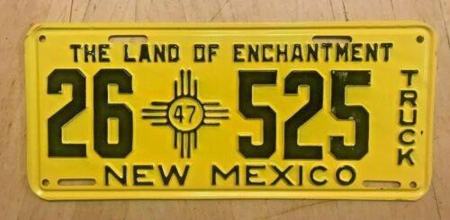 "1947 NEW MEXICO  TRUCK LICENSE PLATE ""  26 525 "" NM 47  ALL ORIGINAL CONDITION"