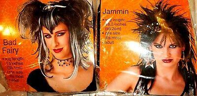 BLACK & WHITE BAD FAIRY WIG OR BLACK  JAMMIN ROCKER WIG ~ Halloween Fast Ship Bad Fairy Wig