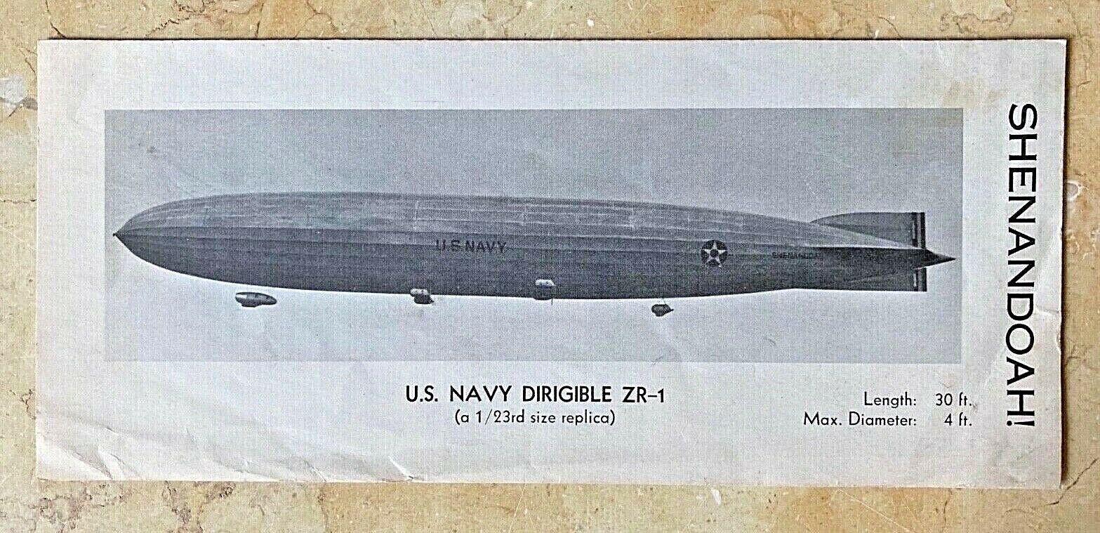 ORIGINAL ZR-1 USS SHENNADOAH ADV BROCHURE for SCALED VERSION FILM PROP c1960's