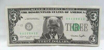 1993 President Bill Clinton $3 dollar bill Slick Times Novelty Money