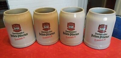 4 Vintage DAB (Dortmunder Actien-Pilsener Beer) 0.5 Liter Stoneware Mugs
