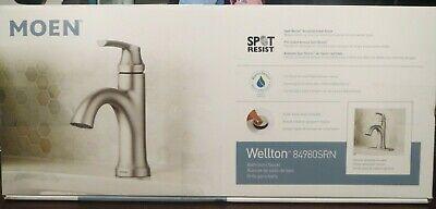 Open 84980SRN Moen Wellton One Handle Spot Resist Brushed Nickel Bathroom Faucet