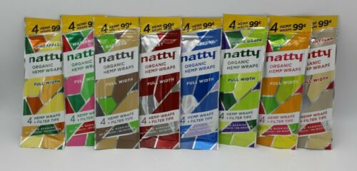 8 PACKS NATTY ORGANIC WRAPS VARIETY 32 PAPERS + FILTER TIPS FULL WIDTH