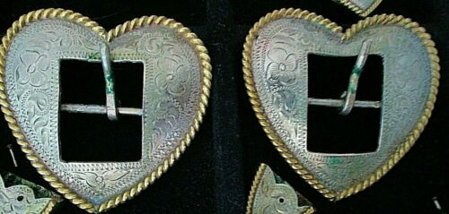 Silver Engraved Heart Buckles Vintage Circle Y -Fabulous Quality-Beautiful  Set