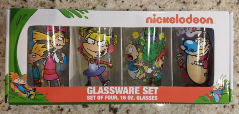 Nickelodeon Set of Four 16oz (1 Pint) Glassware Set Sku #5