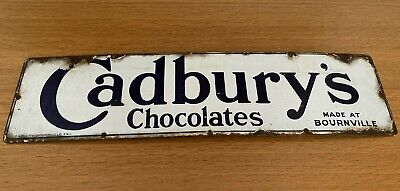 Antique Vintage Retro Cadbury's Chocolate Enamel Advertising Shop Sign