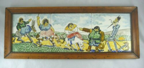 Spaniard Don Quixote Sancho Panza Hand-Painted Tile Art Framed