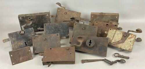 Lot of 13 Antique Hand Forged Lever Door Latch Box Lock