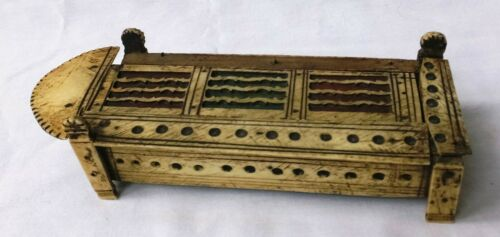 ANTIQUE NAPOLEONIC PRISONER of WAR CARVED DOMINO BOX with DOMINOES - incomplete