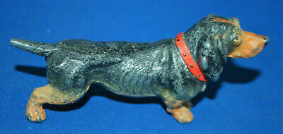 A super standing Dachshund, dog figure, antique painted cast met