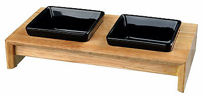 x2 Black Ceramic Bowls with Wooden Stand Eat on Feet Dog Bowls 0.2L