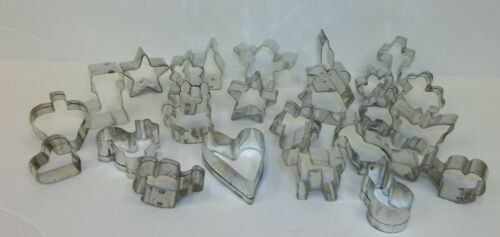 Lot of 24 Figural Miniature Little Metal Cookie Cutters