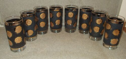 (8) Vintage Libbey Mid-Century Black and Gold Coin High Ball Barware Glasses