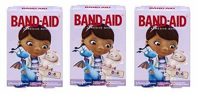 (3 Band-Aid Adhesive Bandages-Doc McStuffins-20 ct ea box, Assorted Sizes NIB)