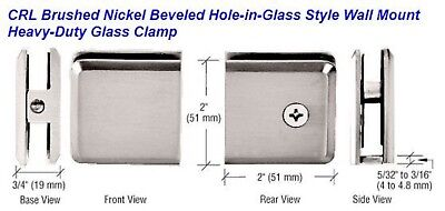 CRL Brushed Nickel Beveled Hole-in-Glass Style Wall Mount Heavy-Duty Glass Clamp