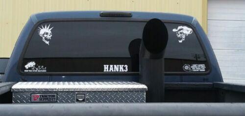 Hank 3 decals. Punk and cowboy skulls. Premium vinyl. Outdoor weather resistant.