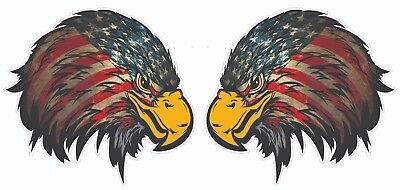 Eagle Head Decal (Weathered American Flag Eagle Head Small Version 2 Pair Decal 3