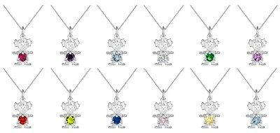 925 Sterling Silver Girl Birthstone Cz Pendant Charm Necklace with 18