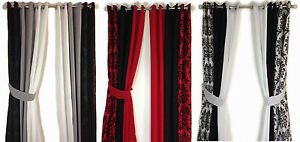 DAMASK-PANEL-3-TONE-RING-TOP-LINED-PAIR-EYELET-WINDOW-CURTAINS-BLACK-WHITE-RED