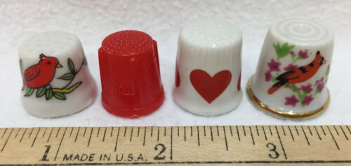 Thimbles Cardinal Bird Red Heart Porcelain & Plastic White Lot 4 Ceramic