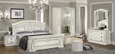 Italian Greek Key Versace 6 Piece Bedroom set in White