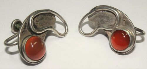 Vintage Idella La Vista Sterling Silver MOD Carnelian Earrings