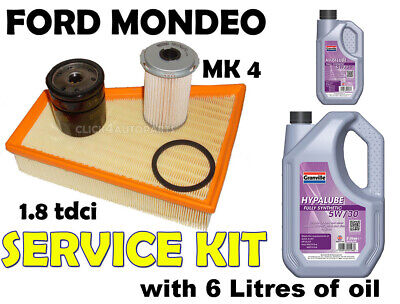 1.8 TDCi Ford Mondeo Diesel (mk4) 2007> Oil Air Fuel Filters + Oil Service Kit