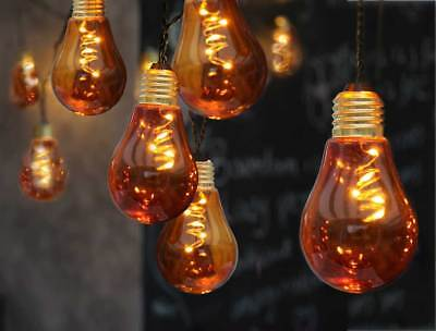tte 10x5 LEDs warmweiß Leuchtkörper Glas orange o. bunt (Orange Lichterkette)