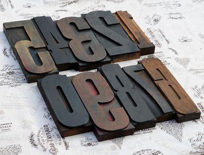 Giant 0-9 Mixed Number Set 8.86 Letterpress Wood Printing Blocks Type Rare